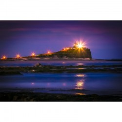 Nobbys Head Light at Night - wall art by Stephen Carter